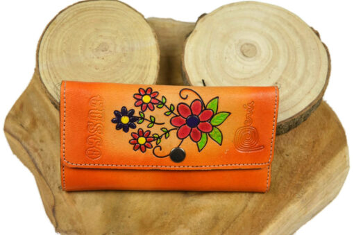 Geldbörse Leder Blumen orange