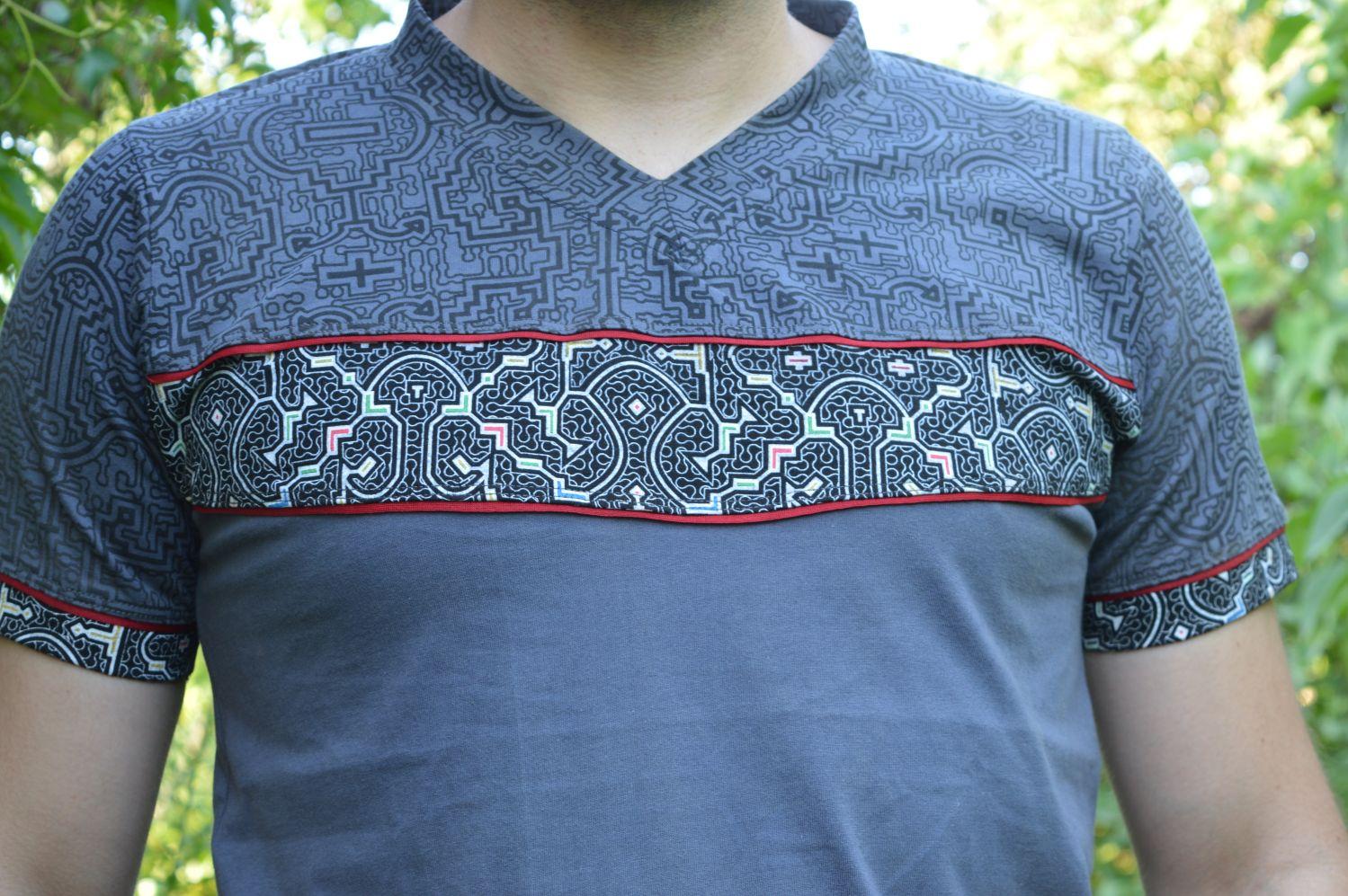 Detail Shipibo Shirt Druck Handarbeit