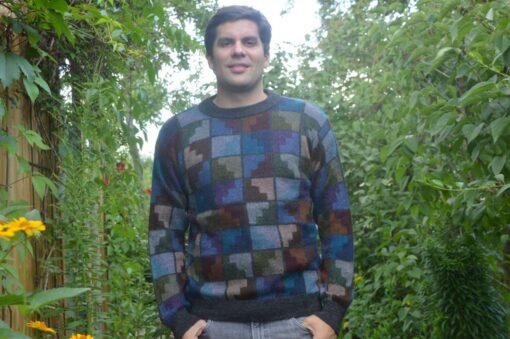 Alpaka Pullover Peru blau XL 2